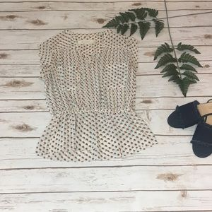 Anthropologie Isani Polka Dot Peplum Blouse-  Sz:4